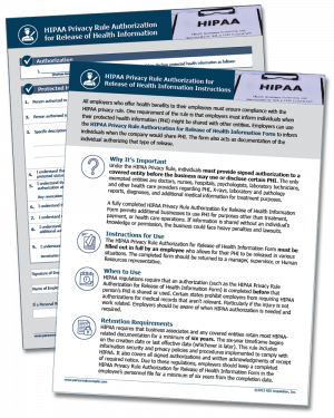 HIPAA Privacy Rule Authorization For Release of Health Information Form - Digital