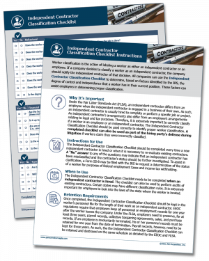 Independent Contractor Classification Checklist - Digital